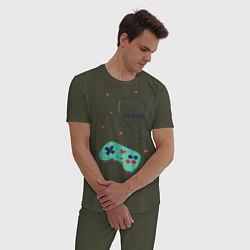 Пижама хлопковая мужская Perfect Team: Player 2 цвета меланж-хаки — фото 2