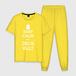 Пижама хлопковая мужская Keep Calm & Deus Vult цвета желтый — фото 1