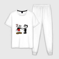 Пижама хлопковая мужская Cuphead: Bendy цвета белый — фото 1
