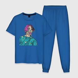 Пижама хлопковая мужская Lil Peep: Zombie Face цвета синий — фото 1