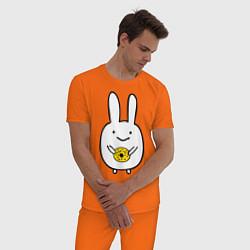 Пижама хлопковая мужская Зайчик с пончиком цвета оранжевый — фото 2