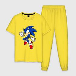 Пижама хлопковая мужская Соник цвета желтый — фото 1