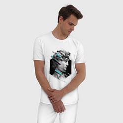 Пижама хлопковая мужская Renaissance David цвета белый — фото 2