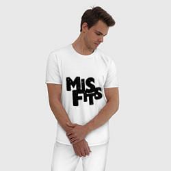 Пижама хлопковая мужская Misfits цвета белый — фото 2