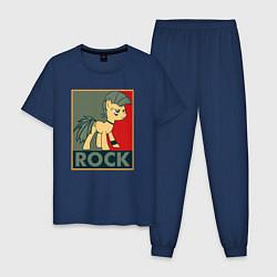 Пижама хлопковая мужская Rock Pony цвета тёмно-синий — фото 1