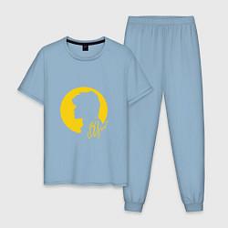 Пижама хлопковая мужская Виктор Цой цвета мягкое небо — фото 1