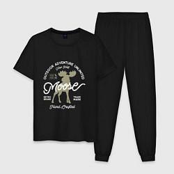 Пижама хлопковая мужская Mosse: Trade Mark цвета черный — фото 1