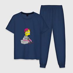 Пижама хлопковая мужская Bart: Lil Peep цвета тёмно-синий — фото 1