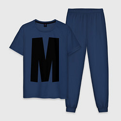 Пижама хлопковая мужская Мы(М) цвета тёмно-синий — фото 1