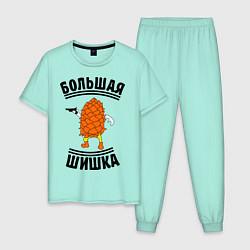 Пижама хлопковая мужская Большая шишка цвета мятный — фото 1