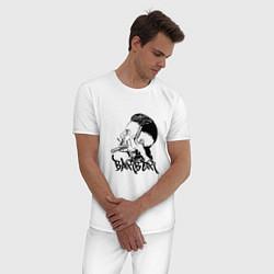 Пижама хлопковая мужская Black Barber цвета белый — фото 2
