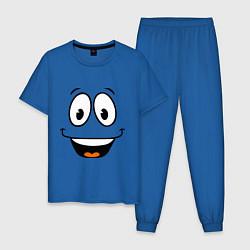 Пижама хлопковая мужская Радостный смайлик цвета синий — фото 1