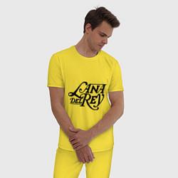 Пижама хлопковая мужская Lana Del Rey цвета желтый — фото 2