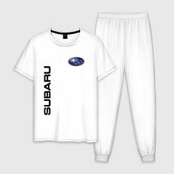 Пижама хлопковая мужская Subaru Style цвета белый — фото 1