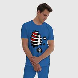 Пижама хлопковая мужская Зомби-скелет цвета синий — фото 2
