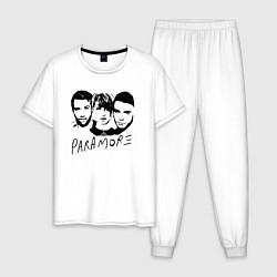 Пижама хлопковая мужская Paramore Band цвета белый — фото 1