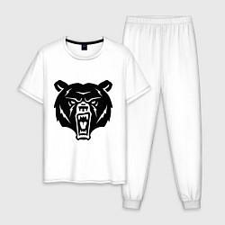 Пижама хлопковая мужская Ярость медведя цвета белый — фото 1