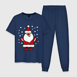 Пижама хлопковая мужская Веселый Дед Мороз цвета тёмно-синий — фото 1