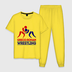 Пижама хлопковая мужская Greco-roman wrestling цвета желтый — фото 1