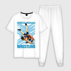 Пижама хлопковая мужская Greco-roman wrestling цвета белый — фото 1