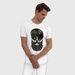 Пижама хлопковая мужская Сахарный череп с бородой цвета белый — фото 2