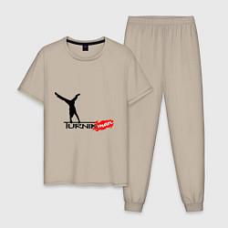 Пижама хлопковая мужская Turnikman цвета миндальный — фото 1