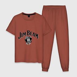 Пижама хлопковая мужская Jim Beam logo цвета кирпичный — фото 1