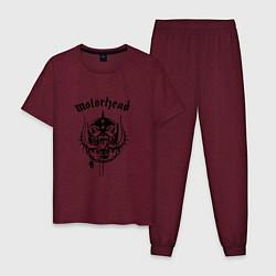 Пижама хлопковая мужская Motrhead: Black Devil цвета меланж-бордовый — фото 1