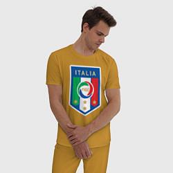 Пижама хлопковая мужская Italia FIGC цвета горчичный — фото 2