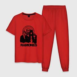 Пижама хлопковая мужская Ramones Boys цвета красный — фото 1