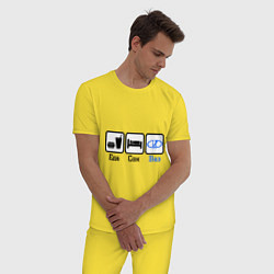 Пижама хлопковая мужская Главное в жизни - еда, сон, Ваз цвета желтый — фото 2
