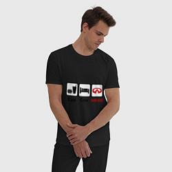 Пижама хлопковая мужская Еда, сон и Infiniti цвета черный — фото 2