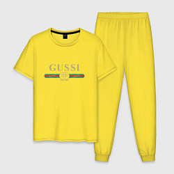 Пижама хлопковая мужская GUSSI Brand цвета желтый — фото 1