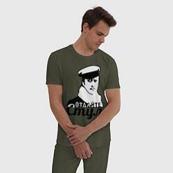 Пижама хлопковая мужская Отдайте стул цвета меланж-хаки — фото 2