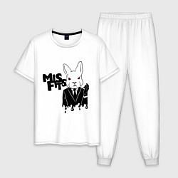 Пижама хлопковая мужская Misfits Rabbit цвета белый — фото 1