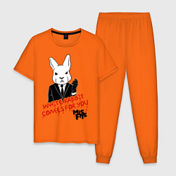 Пижама хлопковая мужская Misfits: White rabbit цвета оранжевый — фото 1