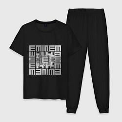 Пижама хлопковая мужская Emineminem silver цвета черный — фото 1