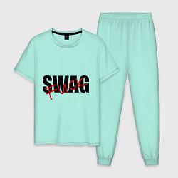 Пижама хлопковая мужская SWAG Fuck цвета мятный — фото 1