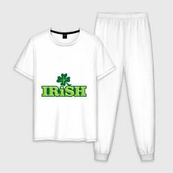 Пижама хлопковая мужская Ирландия цвета белый — фото 1