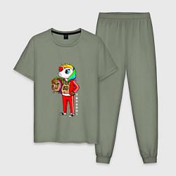 Пижама хлопковая мужская Tekashi 6ix9ine цвета авокадо — фото 1