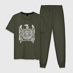 Пижама хлопковая мужская Slayer Eagle цвета меланж-хаки — фото 1