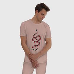 Пижама хлопковая мужская Snake GG цвета пыльно-розовый — фото 2