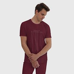 Пижама хлопковая мужская Death Stranding цвета меланж-бордовый — фото 2