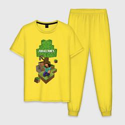 Пижама хлопковая мужская Мир из блоков цвета желтый — фото 1