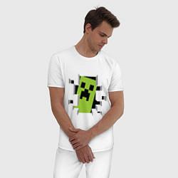 Пижама хлопковая мужская Crash Minecraft цвета белый — фото 2