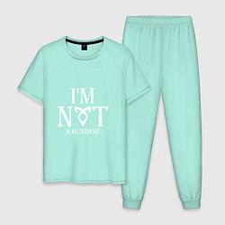 Пижама хлопковая мужская I'm not a mundane цвета мятный — фото 1