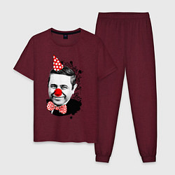 Пижама хлопковая мужская Евгений Петросян клоун цвета меланж-бордовый — фото 1
