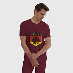 Пижама хлопковая мужская Немецкий фанат цвета меланж-бордовый — фото 2