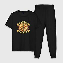 Пижама хлопковая мужская Мир, Любовь и Пицца цвета черный — фото 1