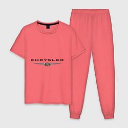 Пижама хлопковая мужская Chrysler logo цвета коралловый — фото 1